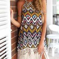Multicolor Halter Geometric Print Fringe Dress