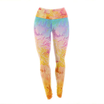 "Ebi Emporium ""Sky Risers II"" Pink Yellow Yoga Leggings"