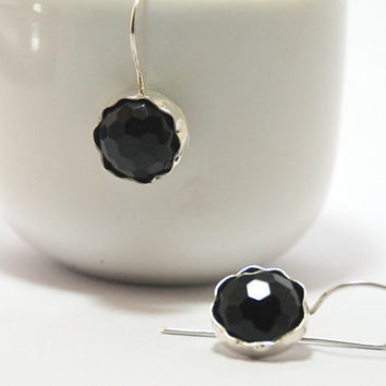 Black Onix Gemstone Sterling Silver Earrings