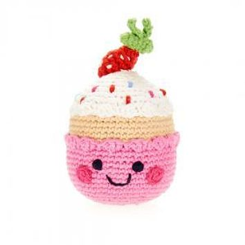 Strawberry Birthday Cupcake -  Fair Trade Knitted Baby Rattle