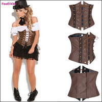 FeelinGirl Steel Boned Leather Steampunk Waist Tummy Girdle Body Control Shaper Cincher Trainer Slimming Underbust Belt Corset Brown Cool Corselet = 1696748228