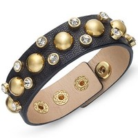 Juicy Couture Gold-Tone Stud and Crystal Accent Leather Bracelet