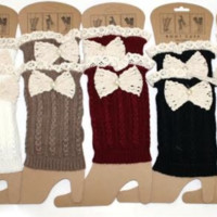 Vintage Lace Bow Boot Cuffs - All Colors!