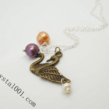 Sterling silver Couple swan pearl necklace