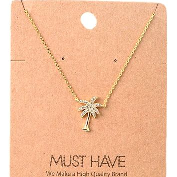 Must Have-Bling Palm Tree Necklace, Gold