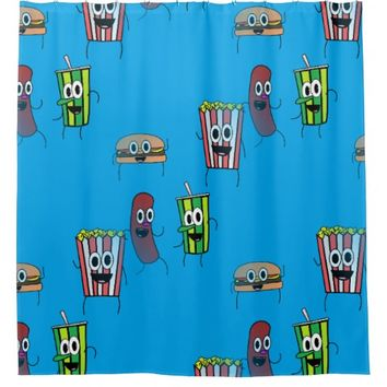 movie popcorn bathroom shower curtain