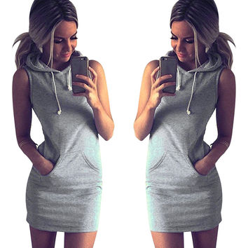 2016 Summer Boho Sexy Beach Dress Women Hoodie Bodycon Mini Dress Causal Sleeveless Slim Sweatshirt Dress Vestidos Femininos