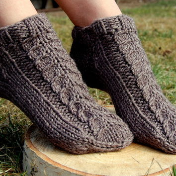 Hand knit wool slippers, Hand knit wool socks,