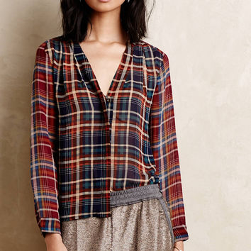 V-Neck Plaid Long-Sleeve Blouse