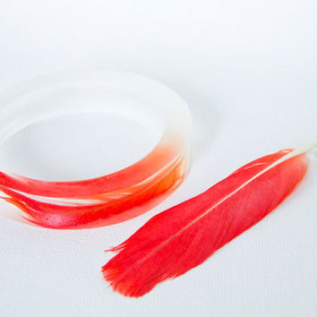 Eco resin flared medium bangle with ruby red by RosellaResin