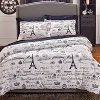 Comforter Set Paris Themed Eiffel Tower Parisian Black White Newspaper Print Boudoir