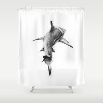 Shark II Shower Curtain by Alexis Marcou