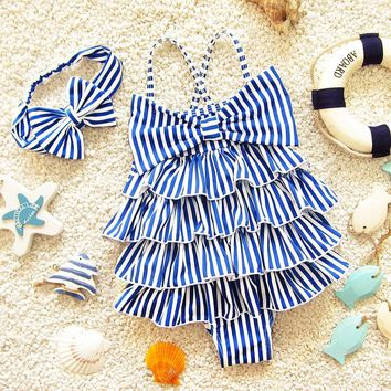Blue Striped Tiered Princess Girls Swimwear One Piece+Headband Baby Kids Swimming Clothes Children Swimsuits Bathing Suits DBE