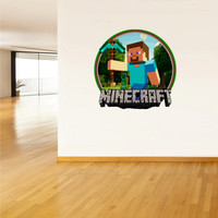 Full Color Wall Decal Vinyl Sticker Decor Art Bedroom Design Mural Like Paintings Minecraft Creeper Steve World Video Game Logo (col525)