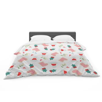 "bruxamagica ""Santa´s Hat And Boots"" White Multicolor Holiday Pattern Illustration Featherweight Duvet Cover"