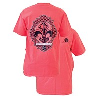 SALE Southern Couture Preppy Vintage Fleur De Lis Comfort Colors Red Orange Girlie Bright T Shirt