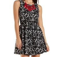 Floral Jacquard Flounce Skater Dress by Charlotte Russe - Black/White