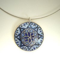 Royal Blue Necklace - Orient Pendant - Hand Painted Jewelry Wood, Arts and Crafts