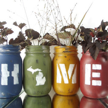 Michigan Decor, State Pride, Cute Home Decor, Mason Jar Decor, Rustic Centerpiece, New Home Gift, Tabletop Decor, Rustic Decor