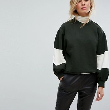 Moss Copenhagen Oversized Sweatshirt With Balloon Panel Sleeves at asos.com
