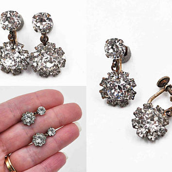 Vintage Sterling Silver Rhinestone Screw Back Earrings, Whiteside & Blank, Art Deco, Gilt, Flower, Dangle, Drop, Icy Beauties! #c327