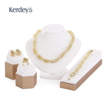 Exaggerated Big Choker Necklace For Women African Beads Statement Chain Bracelet Earrings Ring Jewelry Sets Wedding Accessories