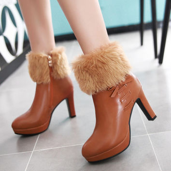 2017 Thick Fur Boots Womens High Heels Plush Warms Platform Ankle Boots Side Zip Bowtie Woman Winter Shoes White/Black Booties