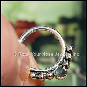 Labradorite Septum Ring Nose Ring - CUSTOMIZE