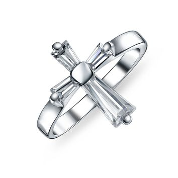 Religious Christian CZ Baguette Cross Ring 925 Sterling Silver