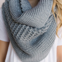 Oversized Chunky Knitted Infinity Scarf In Mint Blue