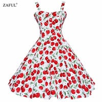 ZAFUL Summer Dress 2017 Vintage Rockabilly Dress Jurken 60s 50s Retro Big Swing Floral Pinup Women Audrey Hepburn Dress Vestidos