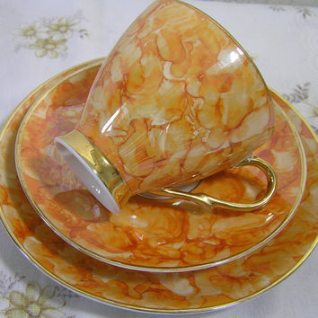 Stunning Vintage Fine Bone China Orange Marble Lustre Pattern Tea Trio Set Jarolina  Made In Poland Cup Saucer Plate World Wide Shipping
