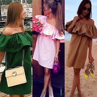 Free Shipping Hot Sale WOMENS BOHO SOLID RUFFLE SLEEVE OFF SHOULDER MINI DRESS TUNIC SUMMER BEACHPLFL