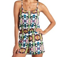 Strappy Tie-Back Geometric Tribal Print Romper - Multi