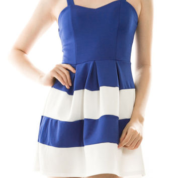 Colorblock Strappy Dress in Blue and White