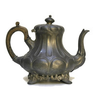 Victorian Pewter Teapot. Art Nouveau Tea Pot. Antique  Sheffield Pewter Teapot. English Pewter.