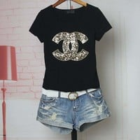"""Chanel"" Women Casual Fashion Sequins Letter Logo Embroidery Short Sleeve Shirt Top Tee"