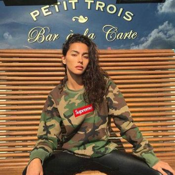 Supreme Camouflage Embroidery Thicken Hoodies