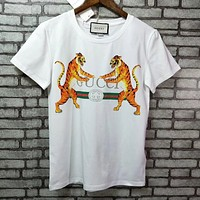 GUCCI yellow print short sleeve fashion tee T-shirt blouse top For Black Firday High quality