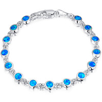 Sterling Silver Blue and Green Fire Opal Tennis Bracelet