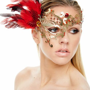Mardi Gras Elegant Gold Phantom of the Opera Masquerade Mask with Red Feathers and Red Rhinestones