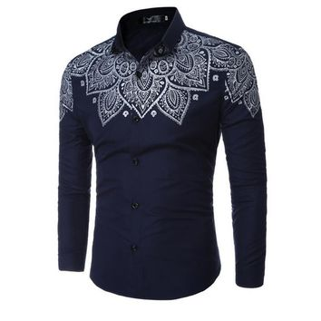2017 Spring Men's Casual British Aristocratic Gold Foil Fashion Slim Handsome Prints Men's Long Sleeves Shirt