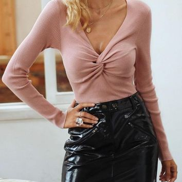 New Pink Irregular V-neck Long Sleeve Sweet Pullover Sweater