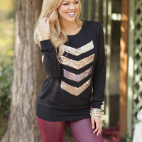 Long Sleeve Hot Sparkly Chevron Tunic Black
