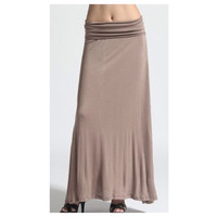 In Style Long Solid Mocha Signature Maxi Skirt,
