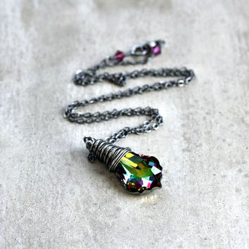 Peacock Crystal Necklace, Amethyst Purple Emerald Green Swarovski Crystal Oxidized Sterling Silver Necklace Women's Jewelry - Mardi Gras