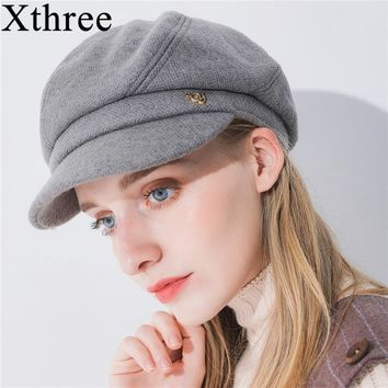 Xthree winter women's hat wool octagonal hat with visor fashion solid newsboys hat for girl women hat