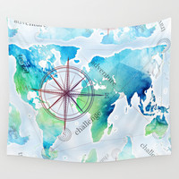 Watercolor map Wall Tapestry by Pakowacz