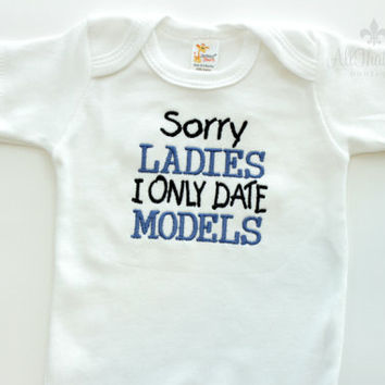 Baby Boys Funny Bodysuit - I Only Date Models - Embroidered - Baby Shower Gifts - Long Sleeve - Short Sleeve - Ladies Man - Babies
