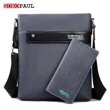 ZOROPAUL Men's PU Leather Messenger Crossbody Bag